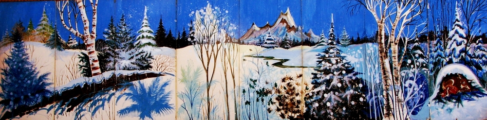 Winter Scene 2: measures 8' high and 32' wide, foamcore.
