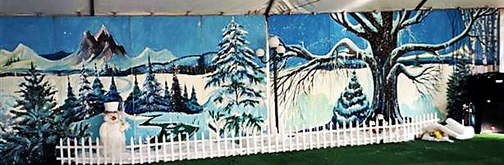 Winter Scene 3:  measures 8' high and 32' wide.  Can be used with or without props