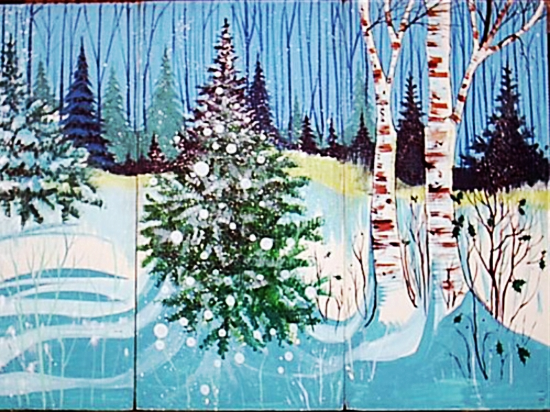 Winter Scene 4:  measures 8' high by 12' wide, foamcore.
