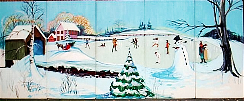 Skating Scene:  measures 8' high and 20' wide, foamcore.