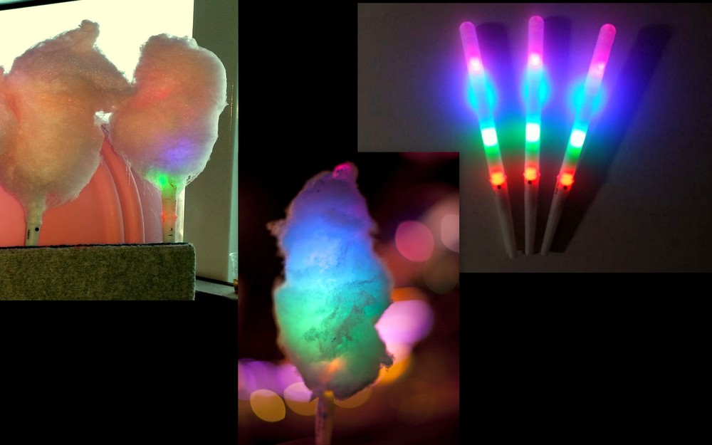 how to make glow in the dark cotton candy sticks