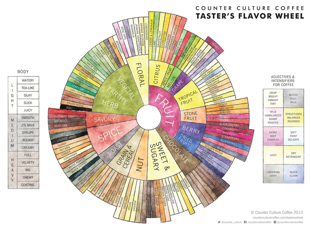 Image is from  https://counterculturecoffee.com/learn/coffee-tasters-flavor-wheel