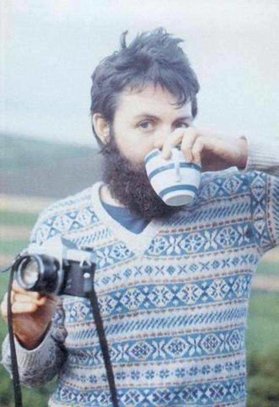Sir Paul enjoying a cup of coffee