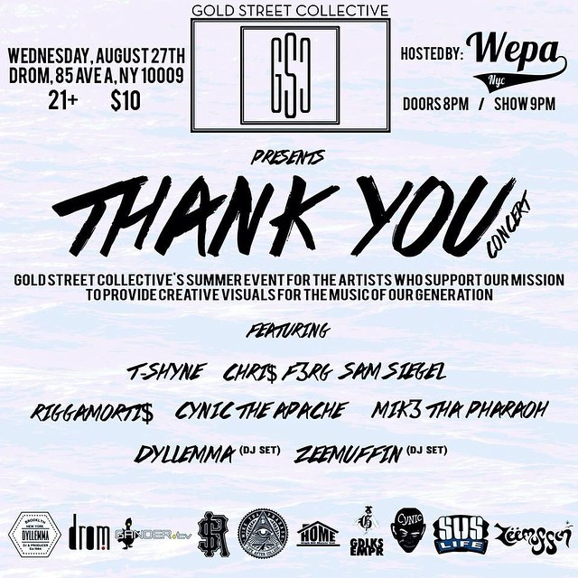 Tonight is the night! Hiphop show in the east village to celebrate a year of hard work let's wild out bring friends it's gonna be live!
