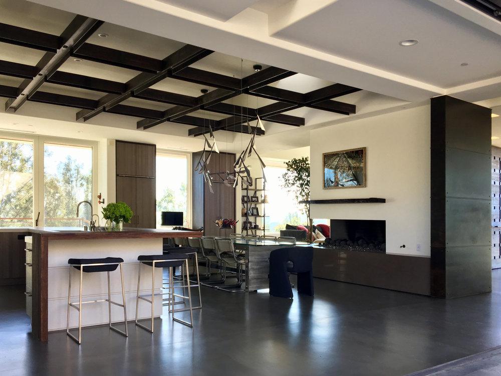 VIA GAVIOTA   Steel Wall, Steel Ceiling Structure & Custom Furniture