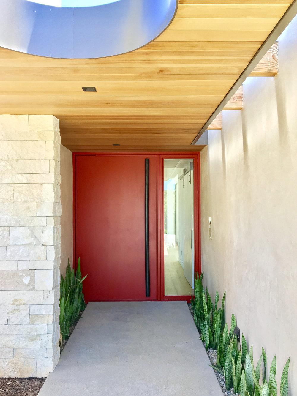 SULLIVAN   Steel Entry Pivot Door, Barn Door Hardware & Architectural Window Trim Detail