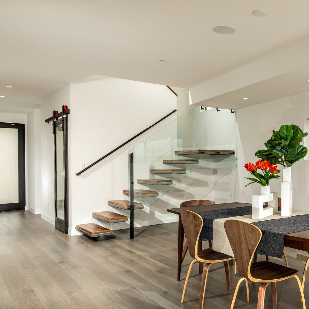 NORFOLK   Staircase With Floating Steel And Walnut Treads & Barn Door Hardware