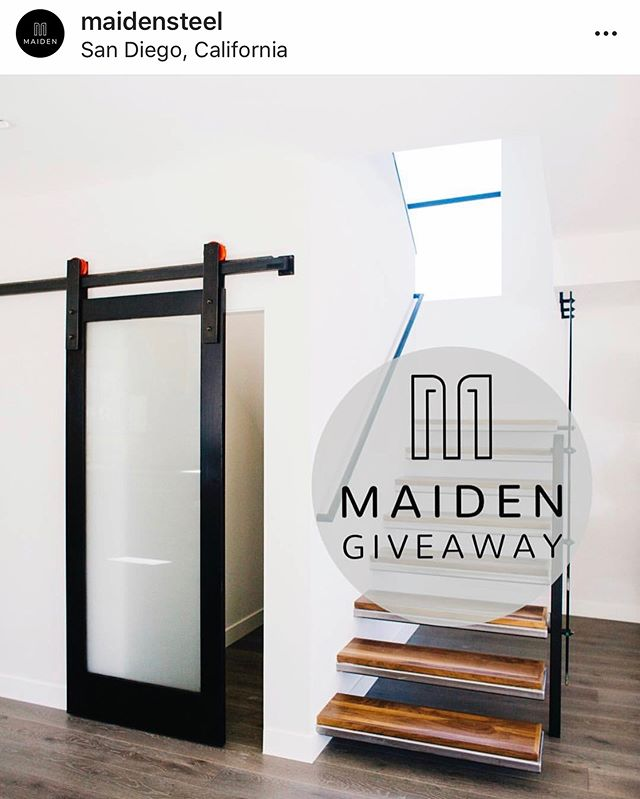 "IG Friends, please visit our sister company's page @maidensteel to enter in our Barn Door Hardware giveaway!!!... We're kicking off 2019 with a HUGE giveaway to say thanks for all your continued support! The winner will receive THE ORIGINAL BARN DOOR HARDWARE with YOUR CHOICE of WHEEL COLOR ($1799 Retail Value). To enter the giveaway follow the rules below!  1. Follow @Maidensteel 2. Like the giveaway post 3. Tag 2-3 architecture lovers in the comments!  4. Repost this image to your story and tag @maidensteel to increase your chances of winning! *Barn Door Hardware Only *Open to USA residents only *Barn Door Hardware Track will be suitable for 24-36"" openings"