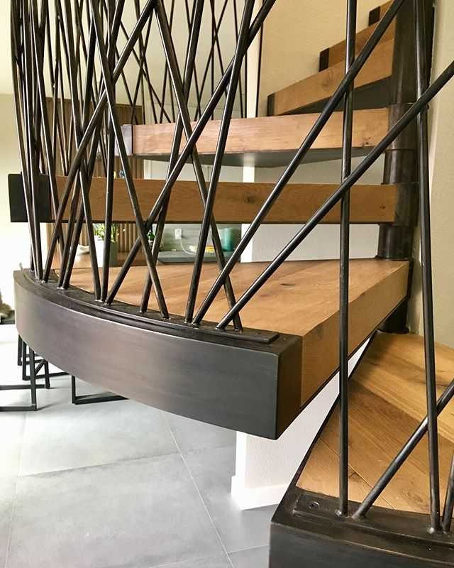 Compact Spiral Floating Stair System (AKA: Tricky lil' bastard of a Stair Unit)- Patina Steel and Oak