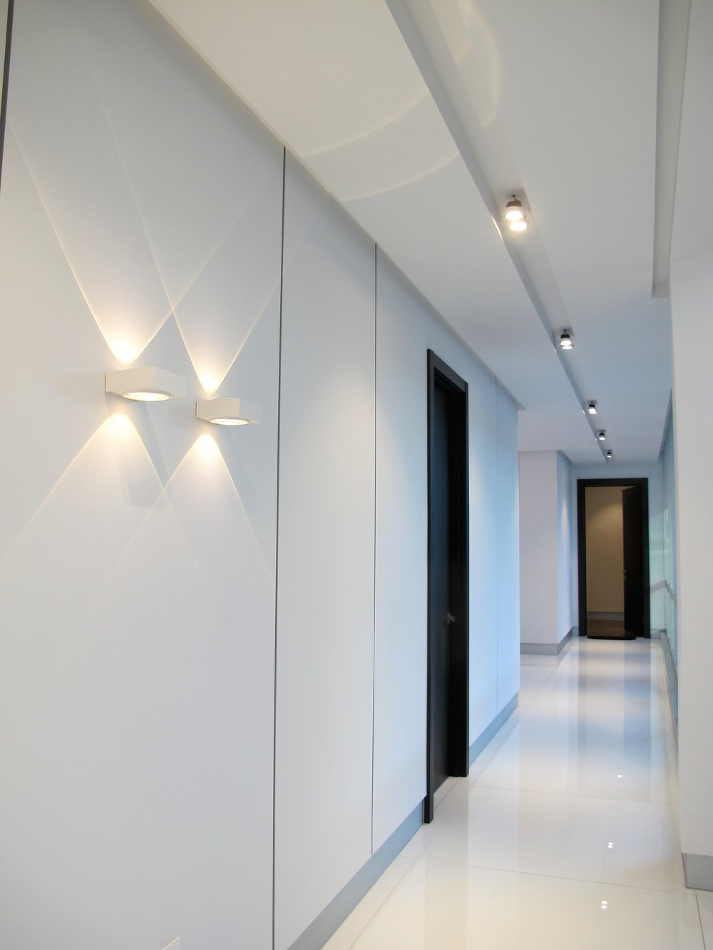 LED WALL SCONCES AND SEMI RECESSED SPOT LED LIGHTS