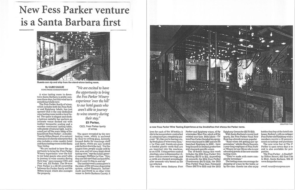 Print layout of Grand Opening from the Santa Barbara News Press.