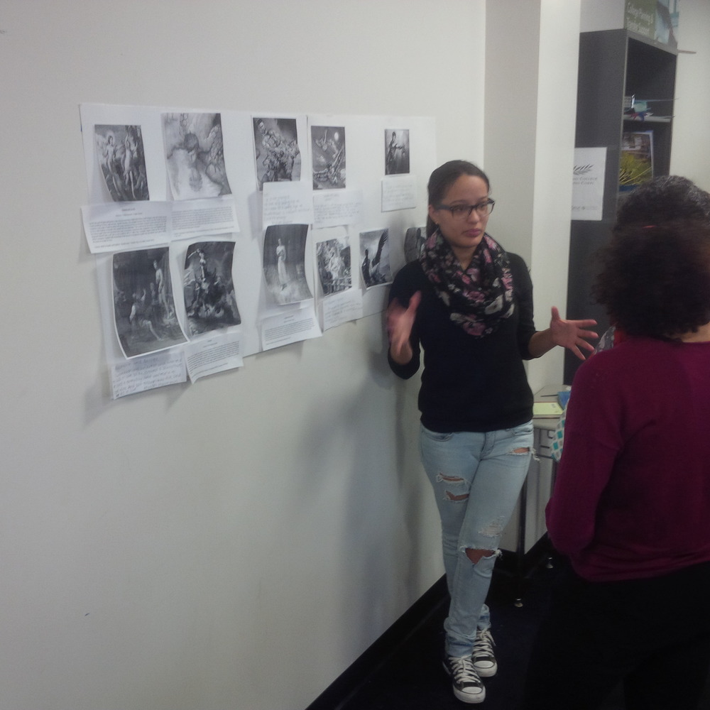 "An Alvarez Senior defends and explains her work on Biblical studies in the Senior English Class ""Allusion Studio"""