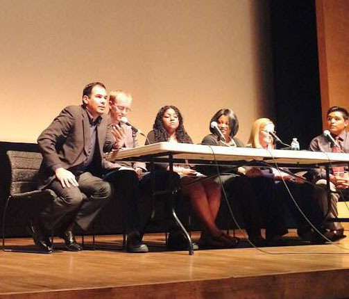 The post-movie panel kicks into gear about what should be happening in local schools