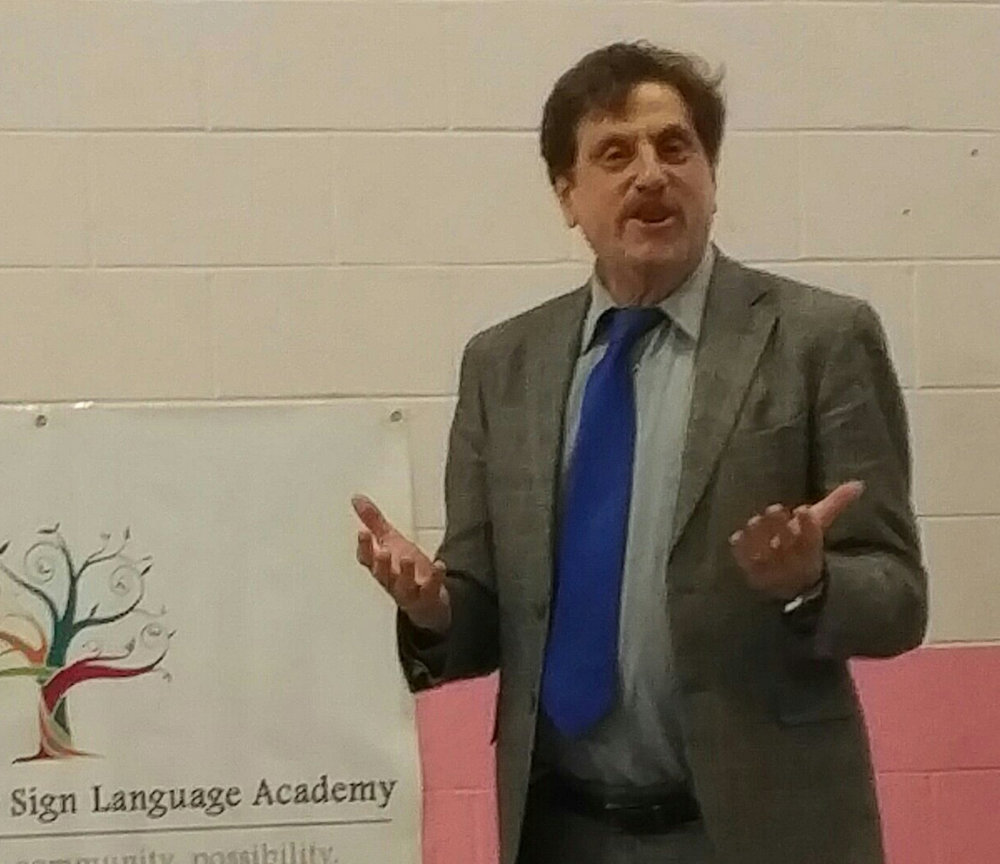 Dr. Gil Noam, PEAR founder,  speaking at Albuquerque Sign Language Academy