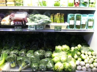 A familiar scene: fresh produce, wrapped in plastic.