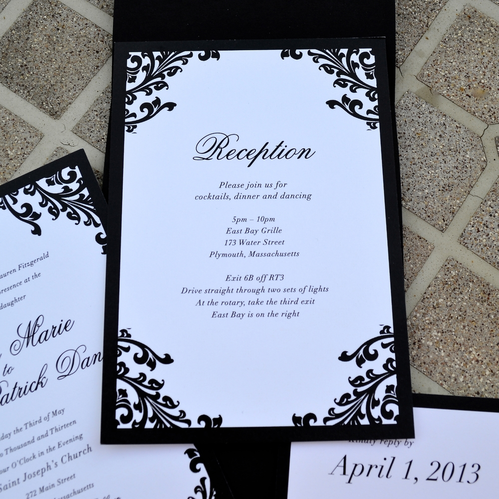 The Black Tie Wedding Invitations Were Designed For A Black And White  Themed Wedding With The Classic Baroque Twist. Using The Heavy Flowering  Pattern And ...