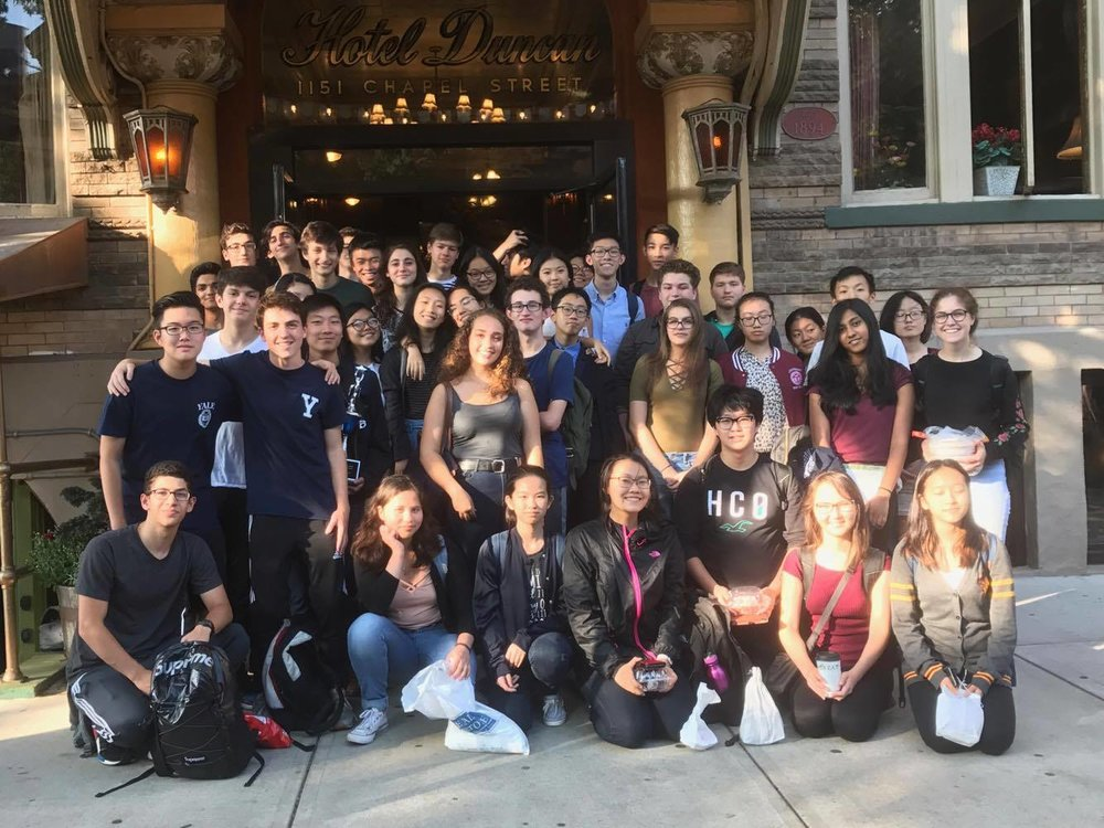 The Speech and Debate team outside of the Duncan Hotel at the 2017 Yale Invitational.