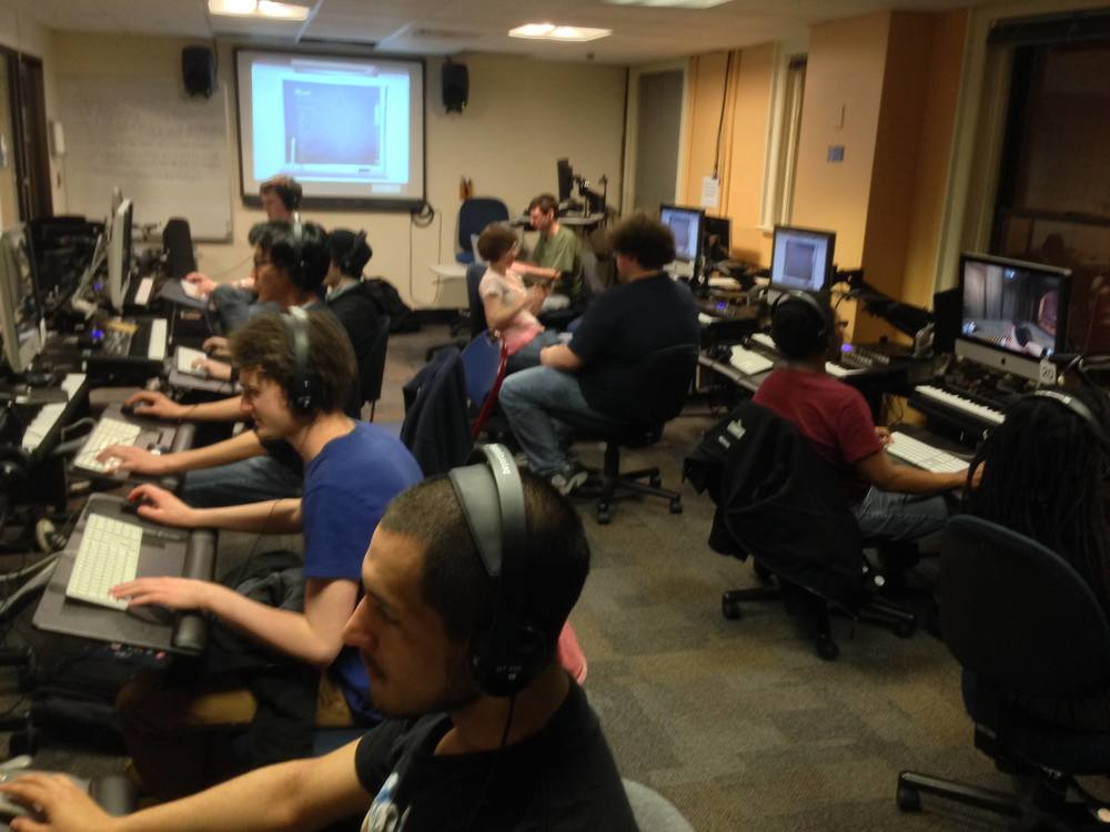 The VGMC when a game night was held in the Learning Center. Yes, we are in a school's computer labs playing a Team Fortress 2 deathmatch.