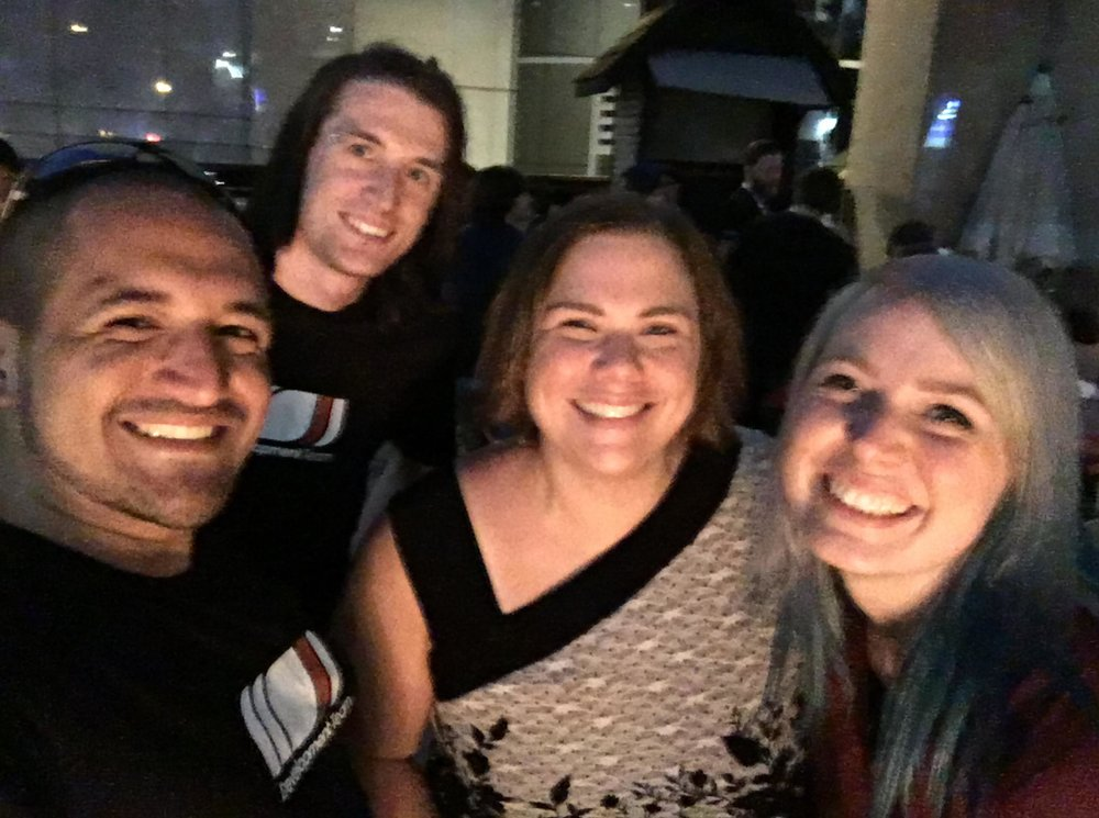 Audio QA selfie with Morgan, Tyler, and also Laila Berzins, the voice actor who voiced Gondul, the Muspelheim Valkyrie!