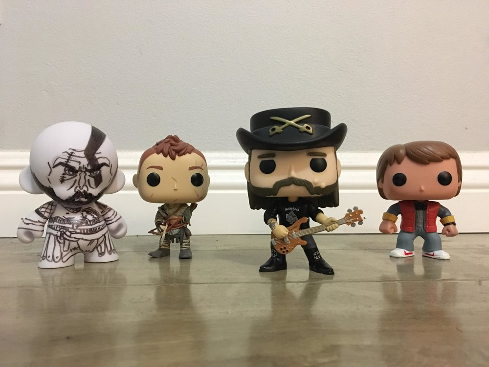 The Funko Pop crew that keep me motivated. (including a custom-drawn Kratos by a super kind co-worker. Thank you again!)