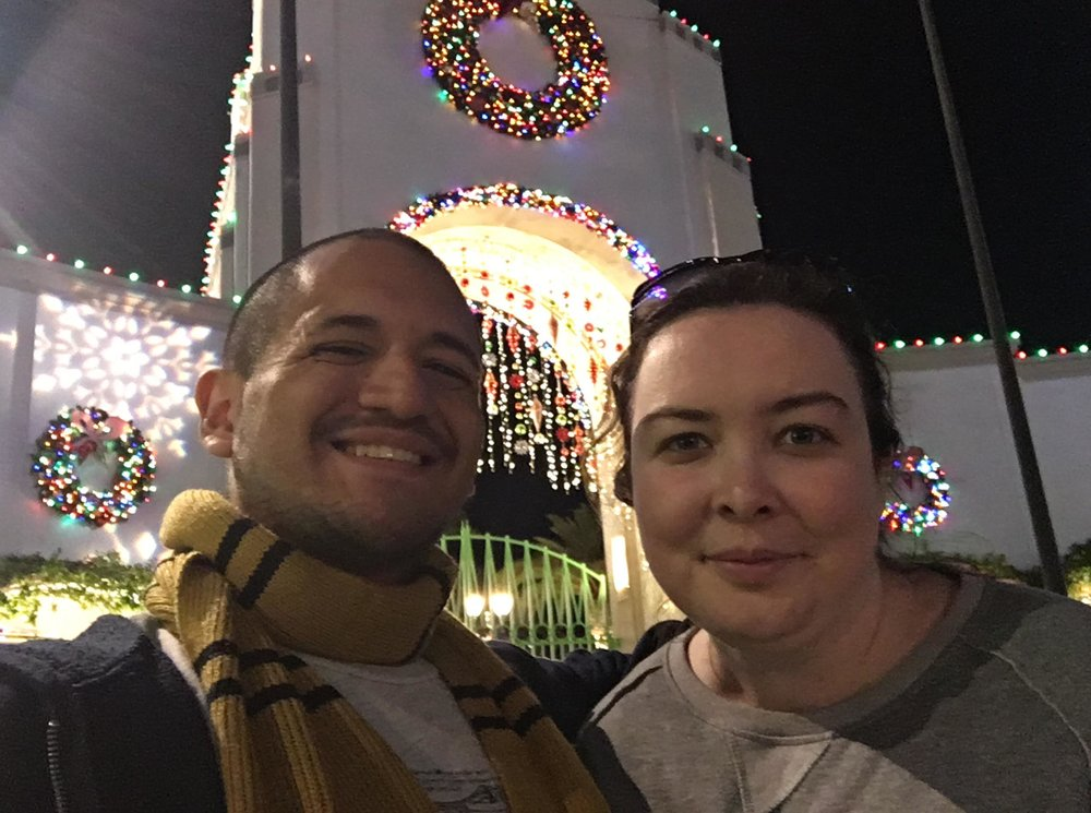 At Universal Studios with my girlfriend for the Christmas/winter season.