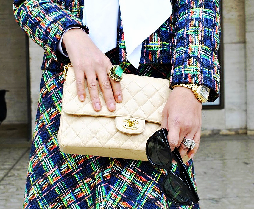 Zara suit, ASOS blouse, Erickson Beamon ring, Chanel bag, Prada sunglasses