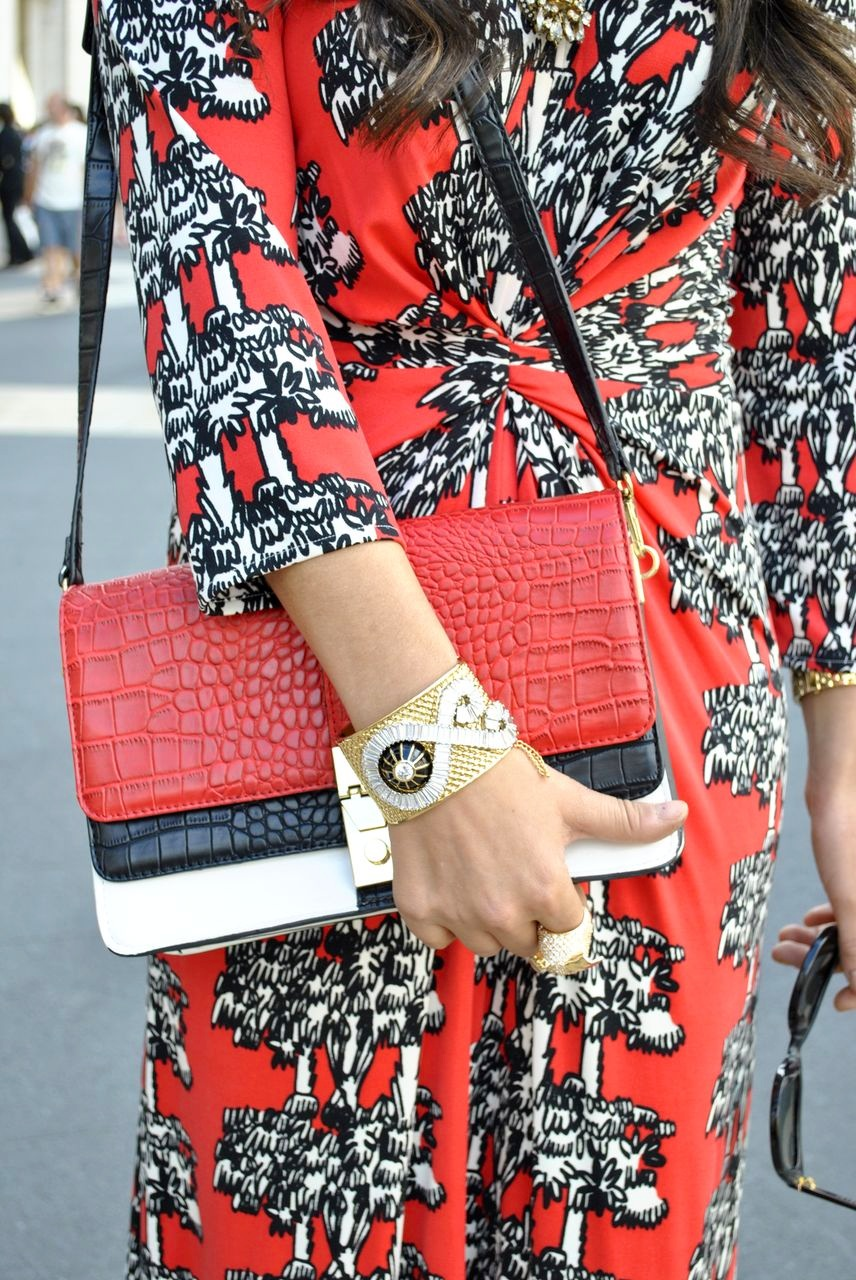 Issa London dress, Zara bag, Rachel Zoe cuff, Noir ring