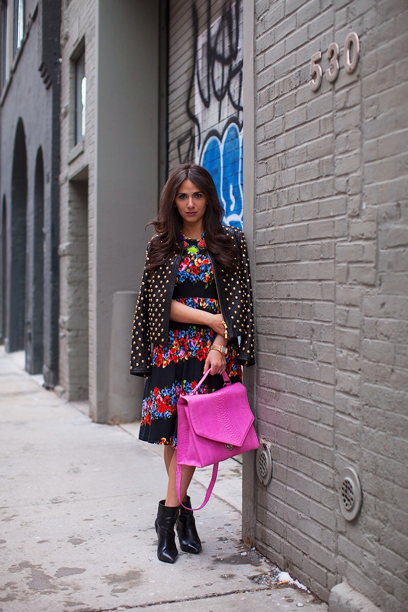 Photo Credit: Keith Morrison of  Styelist    Jacket: Diane von Furstenberg, Dress: ASOS, Necklace: Erickson Beamon, Bag: Emily Cho, Bootie: River Island