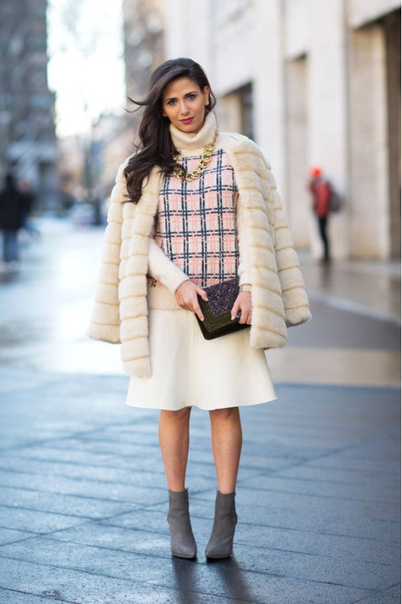 Photo Credit: Diego Zuko of Harpers Bazaar  Coat: Storets, Sweater: ASOS, Skirt: Zara, Necklace: Aerin Erickson Beamon, Bag: Chanel, Shoes: Steve Madden