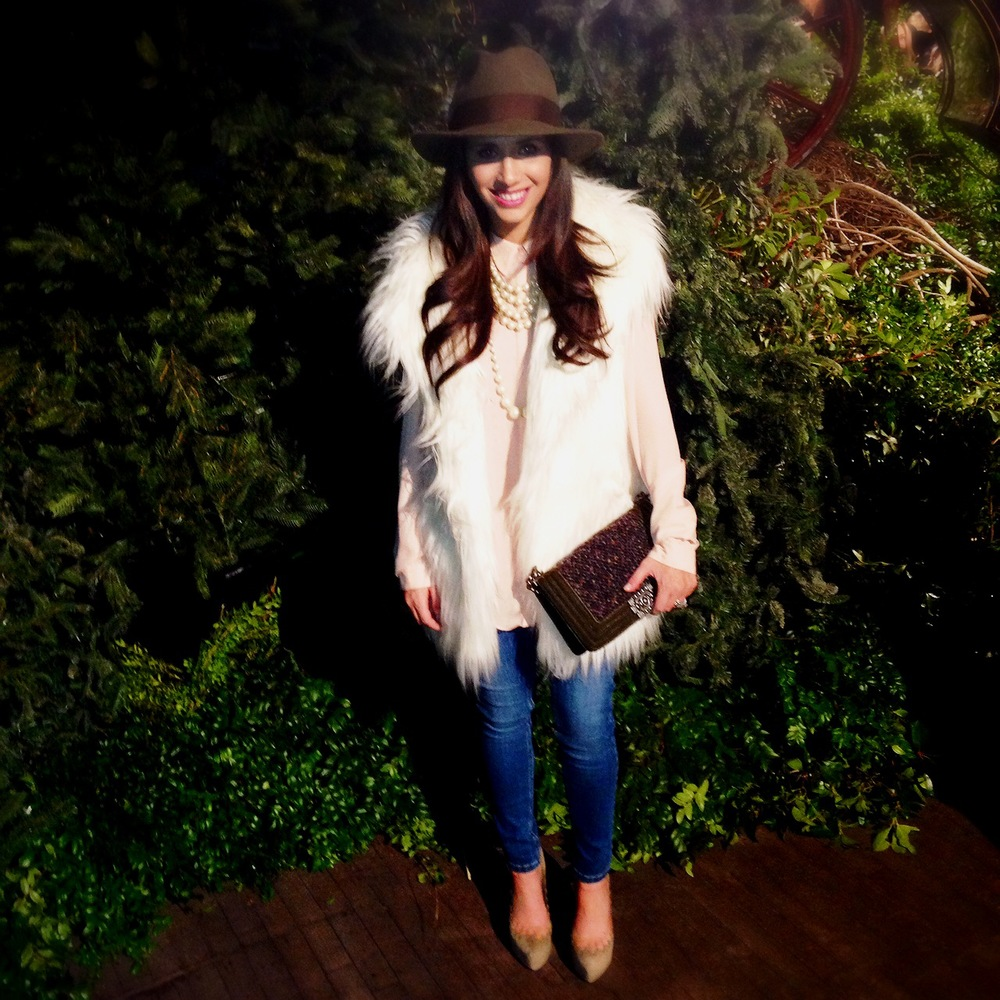 Hat: Laird & Co, Vest: Johnny Was, Blouse: ASOS, Jeans: ASOS Maternity, Pearls: Carolee, Shoes: Jeffrey Campbell, Bag: Chanel