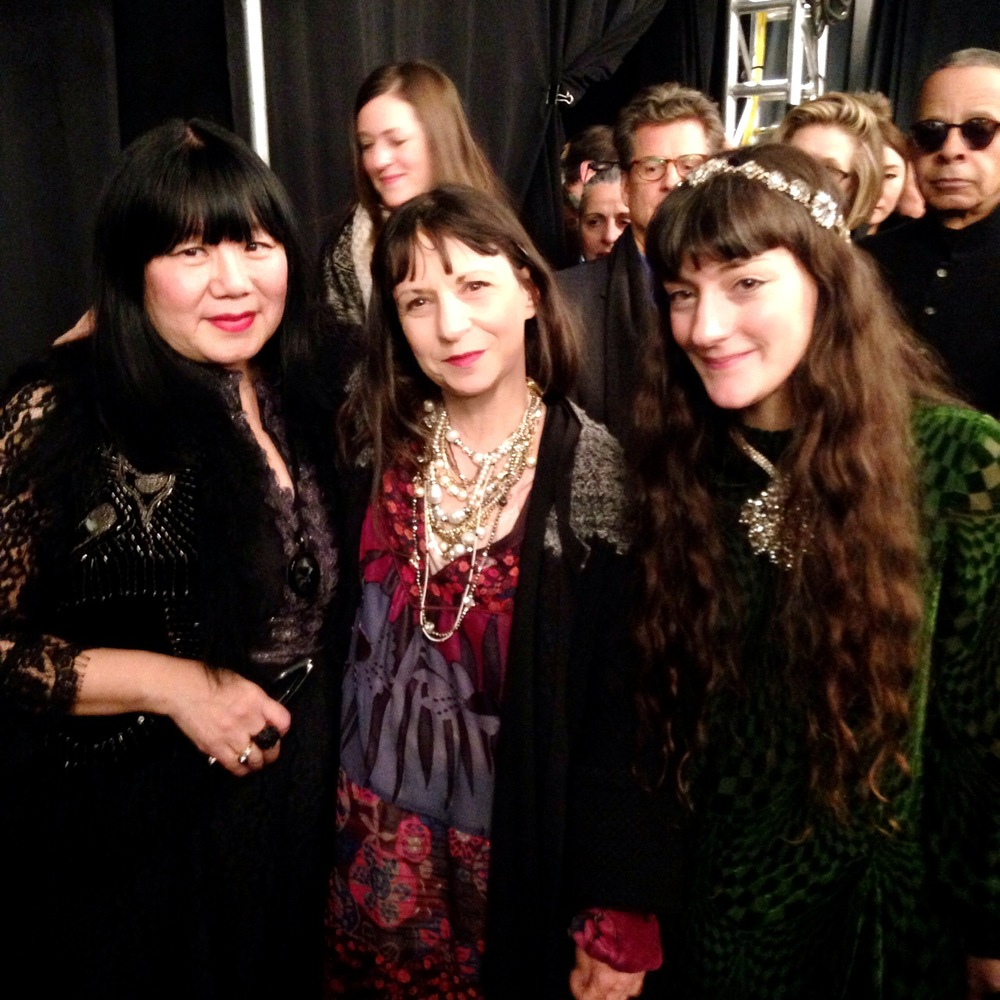 SO much talent in one photo: Anna Sui, Karen Erickson, and Monique Erickson backstage after the show