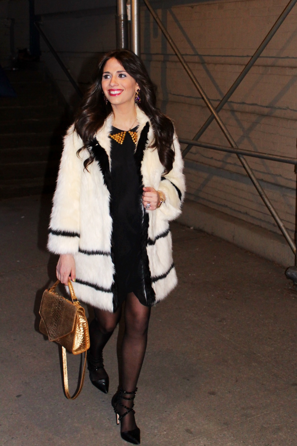 Dress: ASOS, Shoes: Alice and Olivia, Coat: H&M Paris Collection, Bag: Emily Cho, Earrings: Erickson Beamon