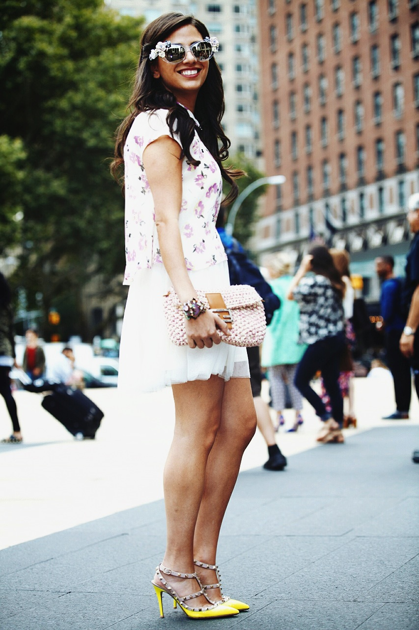 Sunglasses: Dolce & Gabbana, Dress: Pixie Market, Cuff: Erickson Beamon, Shoes: Valentino, Bag: Fendi Photo: Photodama