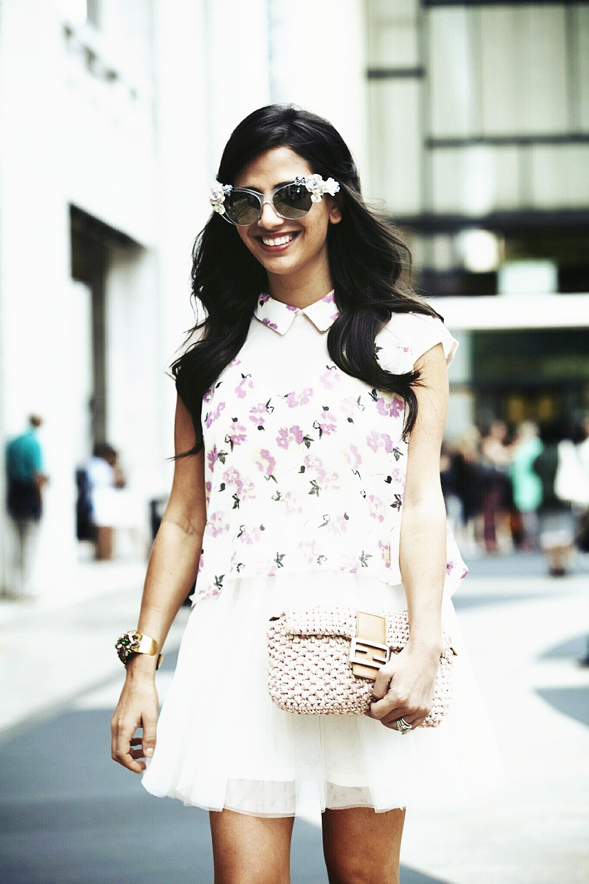Sunglasses: Dolce & Gabbana, Dress: Pixie Market, Cuff: Erickson Beamon, Bag: Fendi Photo: Photodama