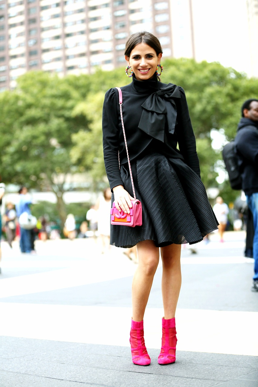 Earring: Erickson Beamon, Dress: Maje, Jacket: Alice and Olivia, Bag: Chanel, Bootie: AskA Collection Photo: Photodama