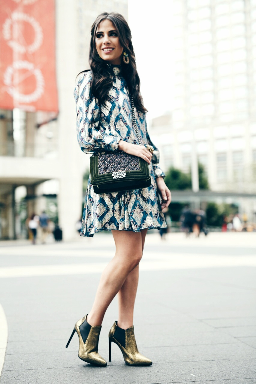Earring: Erickson Beamon, Dress: Anna Sui, Bag: Chanel, Bootie: Saint Laurent Photo: Photodama