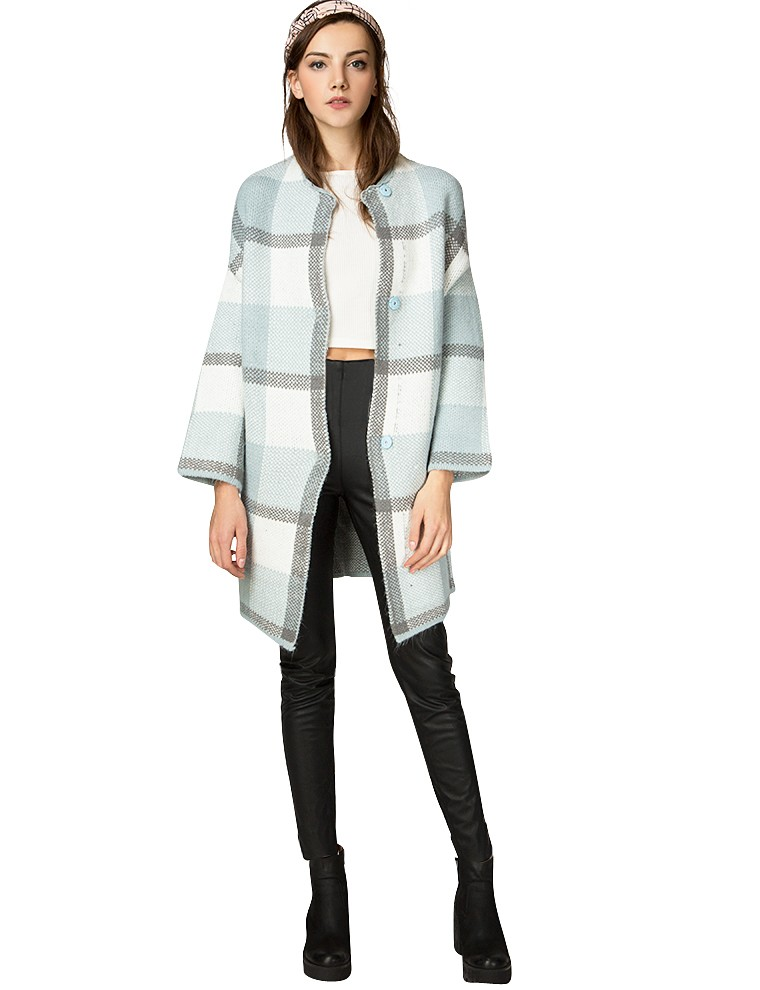 Pixie Market: Powder Blue Oversized Check Cardigan , $119