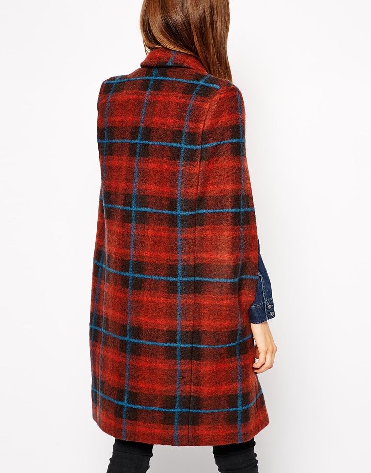 ASOS Coat with Cape Sleeve in Check , $142.82