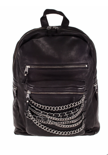 ASH Domino Black Leather Chain Backpack , $465