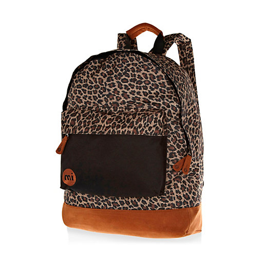 Brown Mi-Pac Leopard Print Backpack, $50