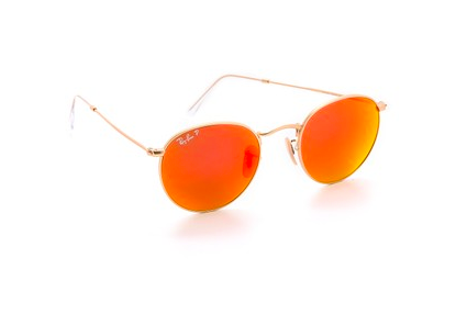 Ray-Ban Mirrored Polarized Icons in Matte Gold/Orange $140 marked down from $200