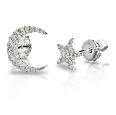 MeitaT White Gold and Pave Diamond Star and Moon Stud Set, $650 (to be worn together in the same ear)
