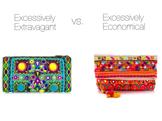 Excessively Extravagant:   Edie Parker, $1895    Excessively Economical:   Star Mela, $115