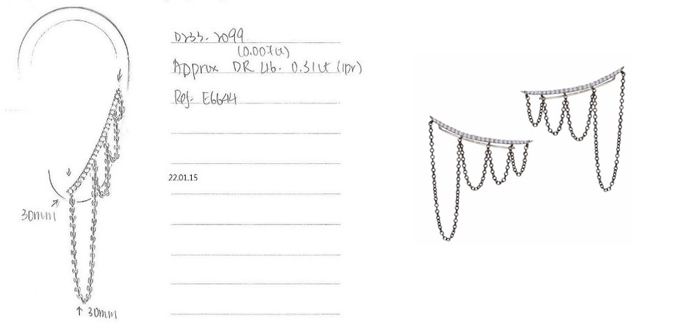 MeiraT x Excessories Expert Chain Ear Cuff design sketches