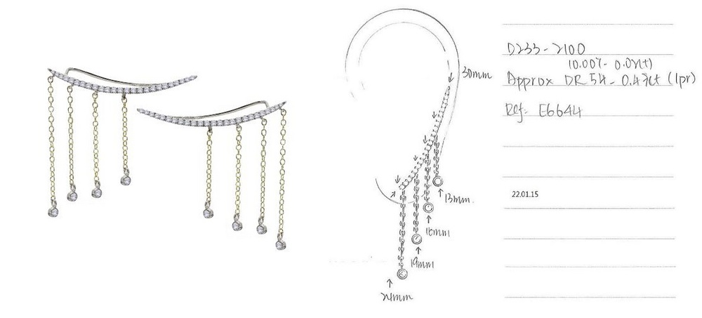 MeiraT x Excessories Expert Fringed Ear Cuff design sketches