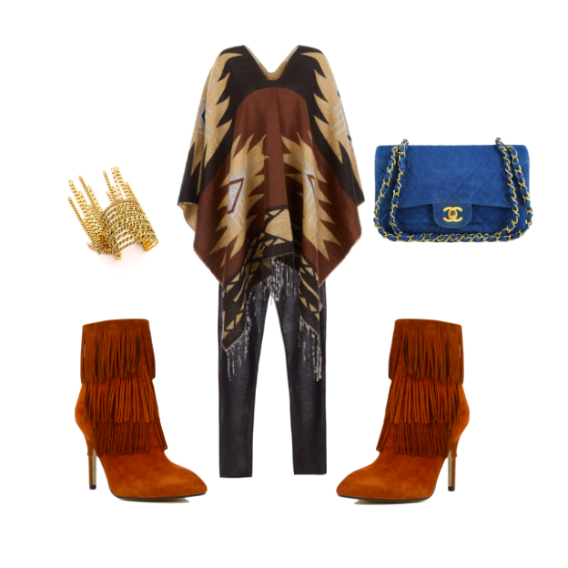Poncho: New Look Brown Aztec Print Fringed Hem Poncho, $31 Trousers:  Zara Skinny Leather Look Trousers, $50 Bag: Chanel Pre-Owned Chanel Blue Denim Medium Classic Flap, $2499 Cuff: Erickson Beamon My Beloved Cuff, $640