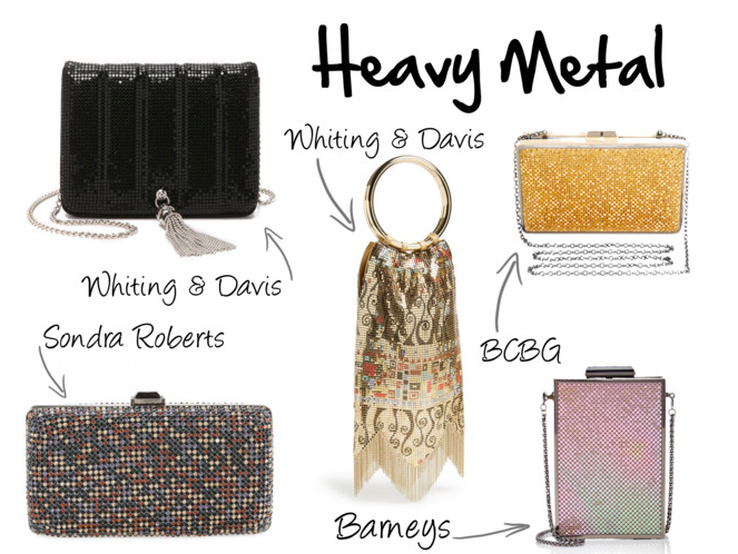 Whiting & Davis Black Quilted Tassel Bag, $125 Whiting & Davis Vienna Metal Mesh Bag, $330 BCBG Sonia Metal Mesh Frame Clutch, $178 Barneys Opal Iridescent Mesh Box Clutch, $175 Sondra Roberts Multicolor Mesh Box Clutch, $138