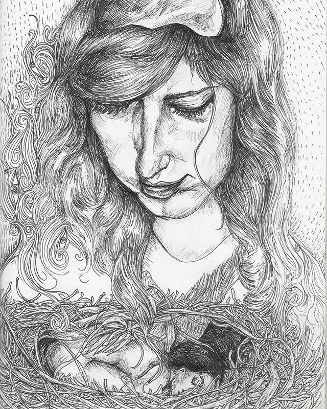 ink on paper #painting #contemporaryart #modernart #acreativedc #portrait #acrylicpainting #dailyart