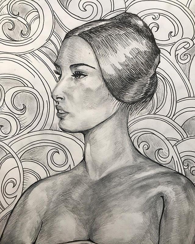 Classic sexy cherub baby face  ink on paper #painting #contemporaryart #modernart #acreativedc #portrait #acrylicpainting #dailyart
