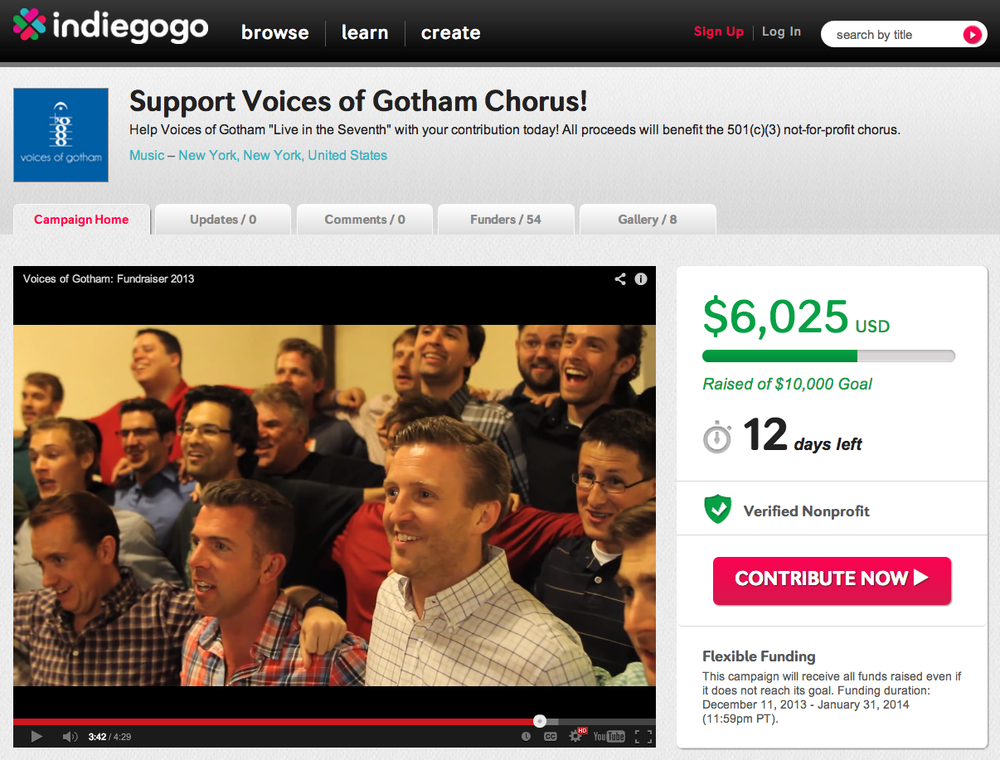 Voices of Gotham's Indiegogo page